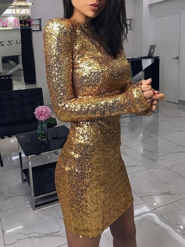 Sexy Gold Mermaid Short Evening Dresses 2019 New Long Sleeves O-Neck Formal Party Prom Gowns Sequined vestido de fiesta de noche alagirls a line pearl prom dresses v neck spaghetti evening dress vestido de fiesta formal party dress vestido de noche