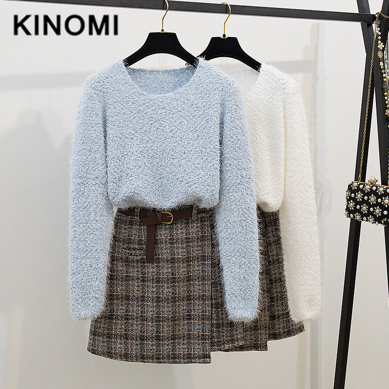 KINOMI Autumn Winter Women Casual Clothing Sets Knitted Warm O-Neck Sweater And Woolen Wrap Mini Skirts With Belt Suits 2019