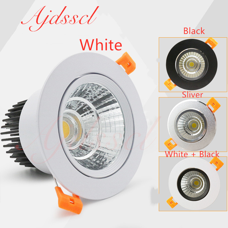 dimmable led downlight lamp 3w 5w 7W 12w 15w 20w  30w 40w cob led spot 220V/110V ceiling recessed downlights round panel light