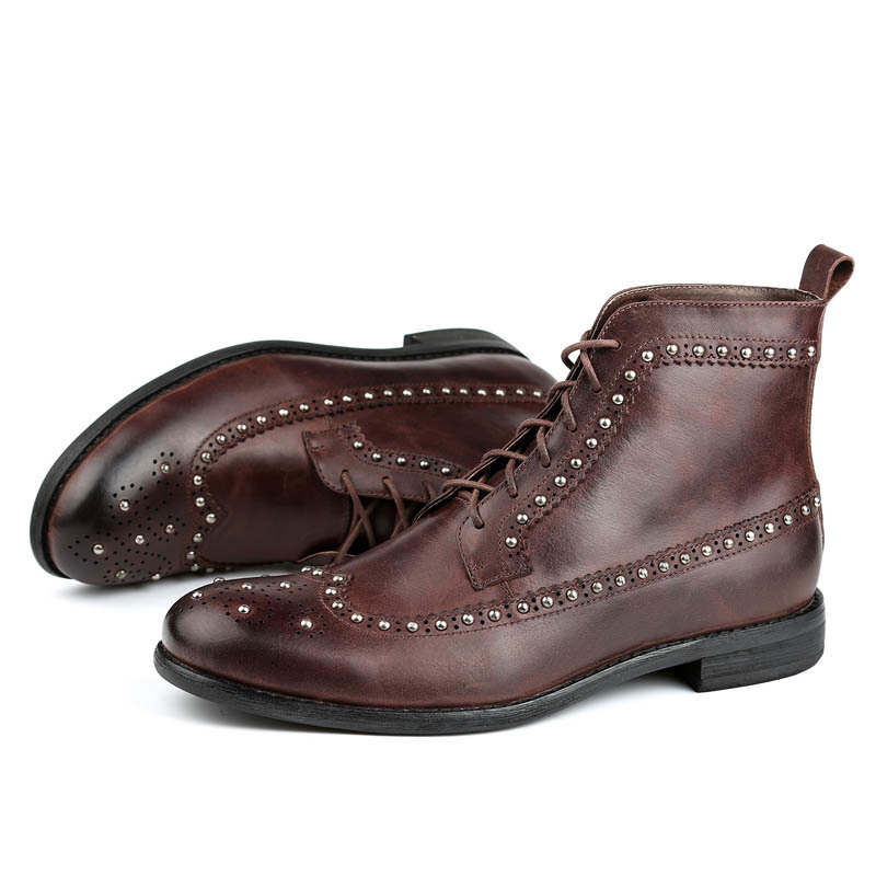 Vintage Retro Mens Cow Genuine Leather Lace Up Motorcycle Biker Boots Round Toe Male Ankle Boots Low Heel Wing Tip Brogue Shoes