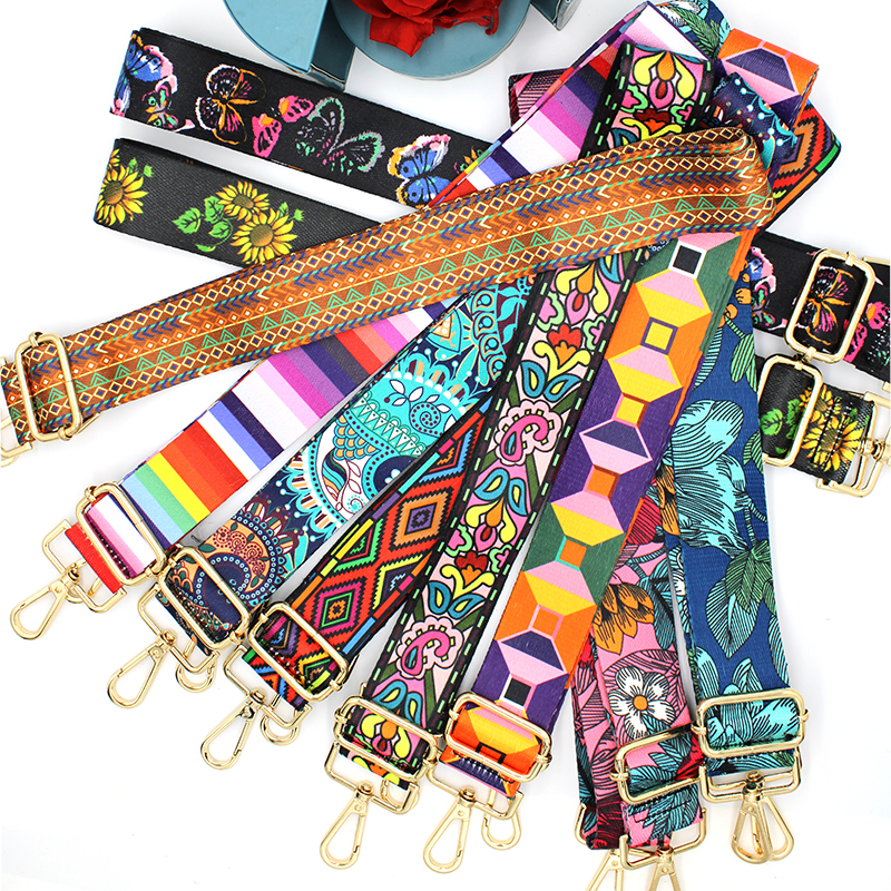 Nylon/Cotton Bag Strap Woman Colored Straps For Crossbody Messenger Shoulder Bag Accessories Adjustable Embroidered Belts Straps