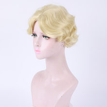 Golden wavy short hair synthetic wigs Noble temperament Woman Breathable Simulation(China)