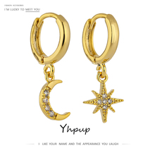 Yhpup Trendy Exquisite Bling CZ Moon Star Universe Dangle Earrings Copper Gold Oorbellen S925 Girl Female Party pendientes mujer