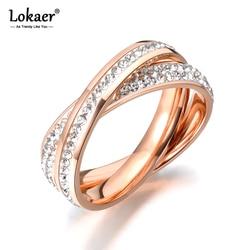 Lokaer-2 bagues, couleur or Rose, bijoux en strass, en acier inoxydable, enroulés ensemble, jamais décolorés pour femmes/fille, cadeau R18055