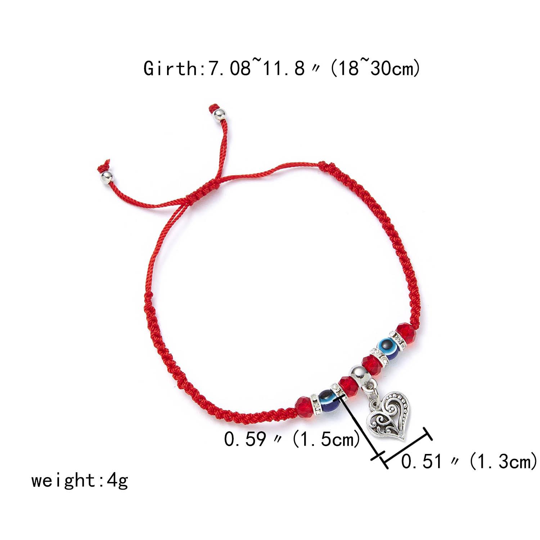 9 стилей плетеная красная нить на удачу Хамса браслет с подвесками на руку синий бисер, от сглаза браслет мода дружбы ювелирные изделия для женщин мужчин - Окраска металла: heart