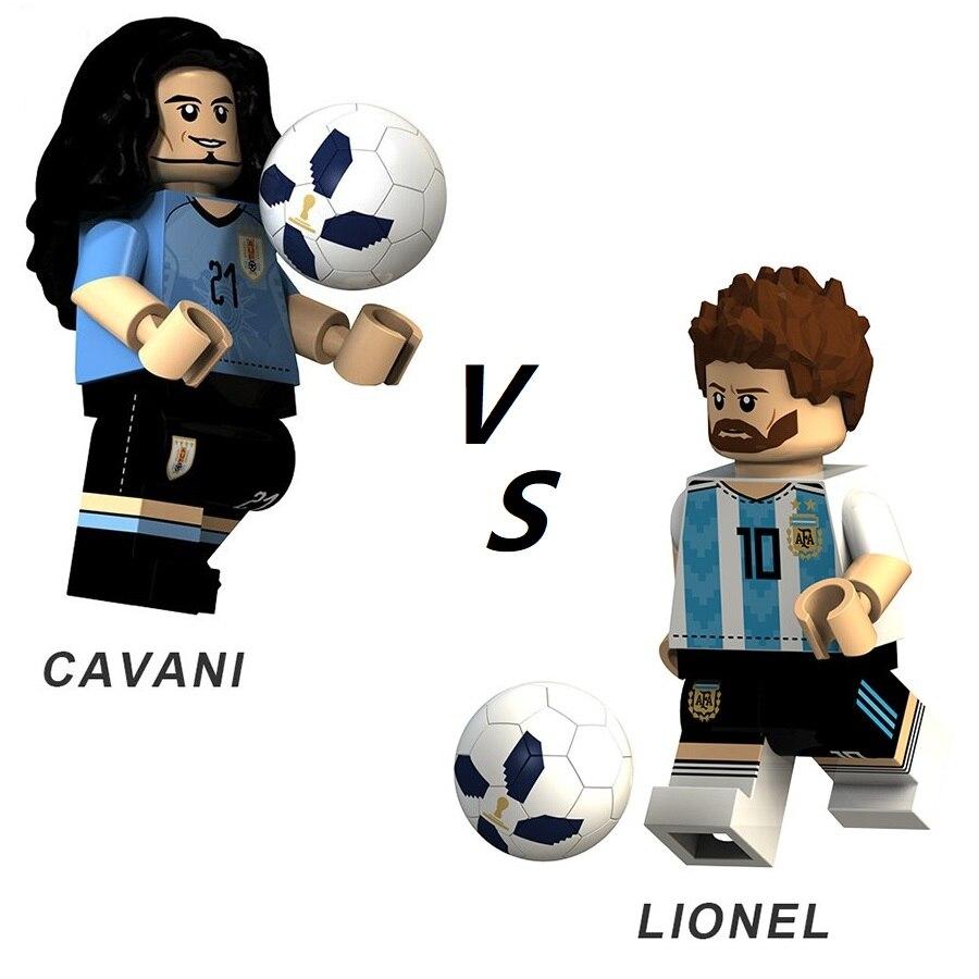 Best Men's Player Football Star CAVANI CRISTIANO BECKHAM MODRIC NEYMAR LIONEL Messi DE BRUYNE Ronaldo Building Blocks Toys