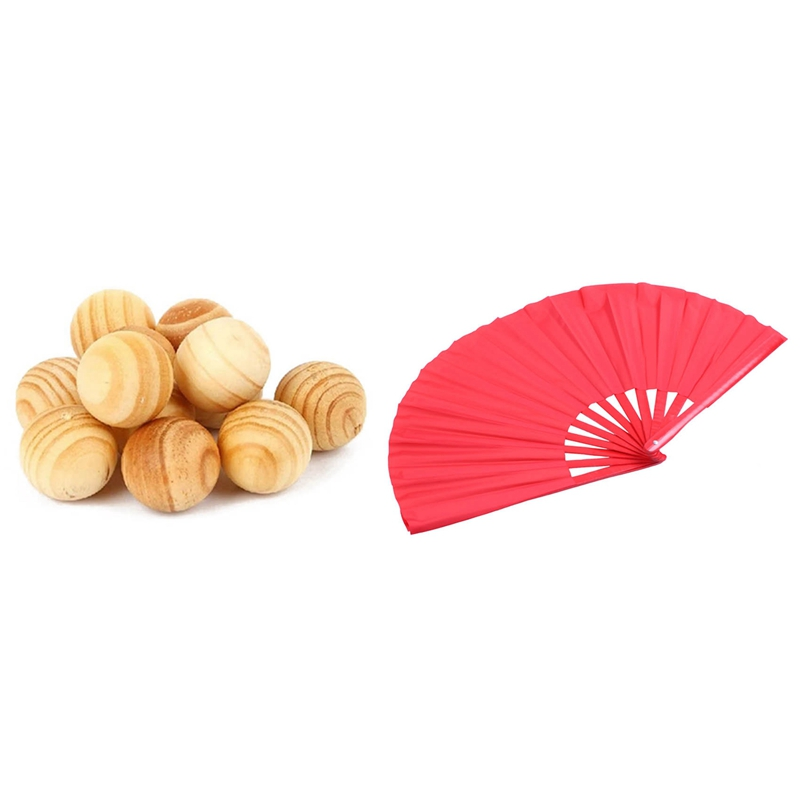 Natural Cedar Wood Moth Balls with Bamboo Structure of Kung Fu Tai Chi Wushu Martial Arts Hand Fan Red