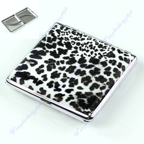 Leopard Pattern Cigarette(20 pcs) Tobacco Pocket New Case Box Holder BW Leather