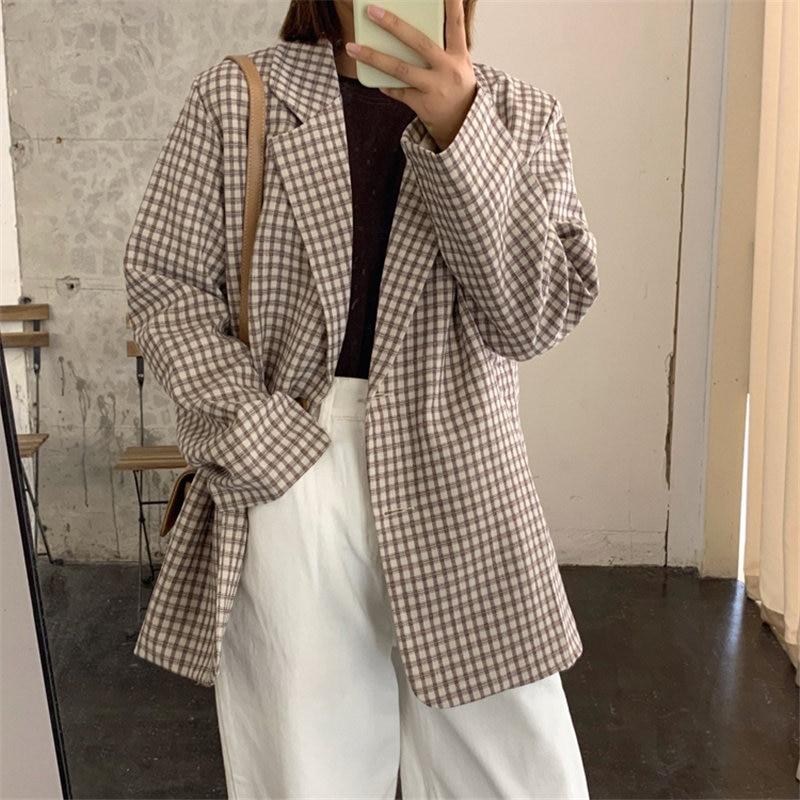 HziriP Coffee Plaid Full Sleeves Chic Loose Geometric Vintage 2020 All Match Casual Tops Office Lady Fashion Women Blazers