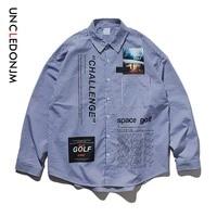 UNCLEDONJM 2019 New Autumn Men Stripe Shirt Long Sleeve Stripe High Street Men's Cotton Shirts Stripe Adults Casual Shirt 92129W