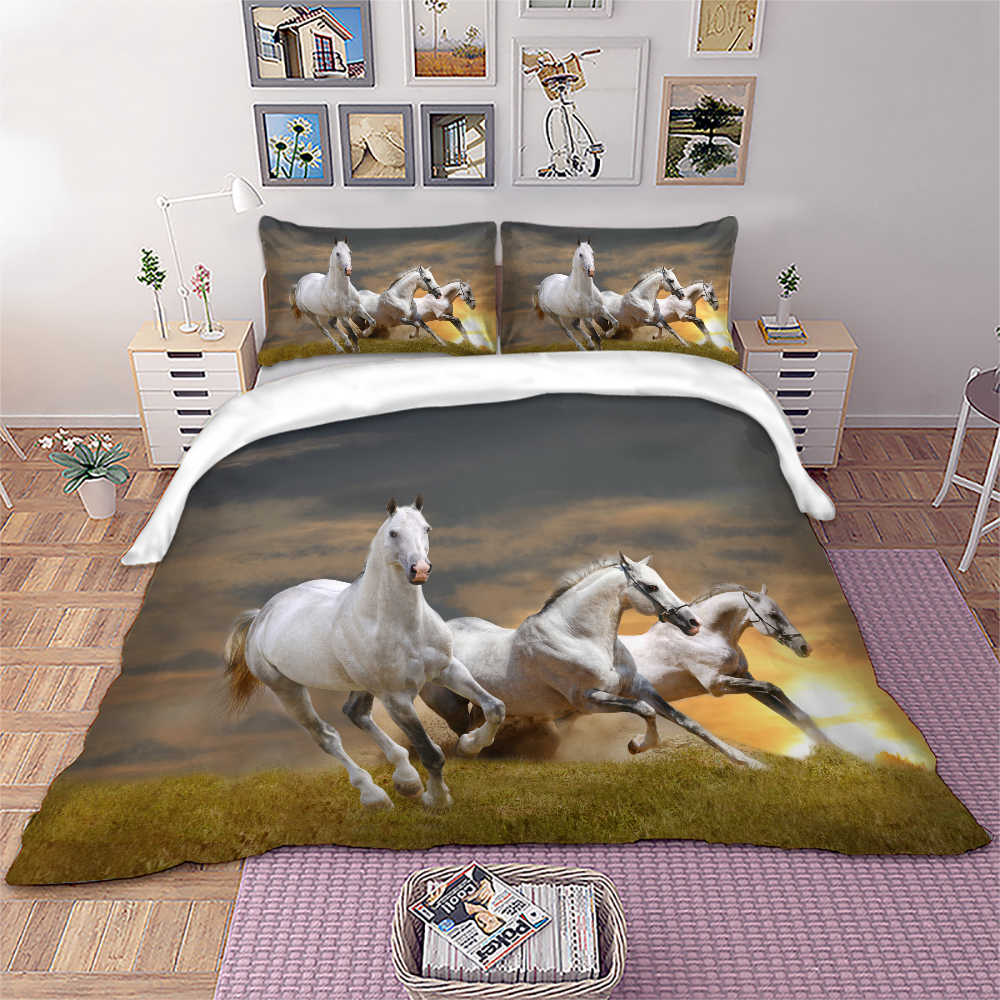 Black Horse bed linen sets bed cover set Twin Full Queen King UK Double Size Animal quilts and bedding sets duvet cover set new