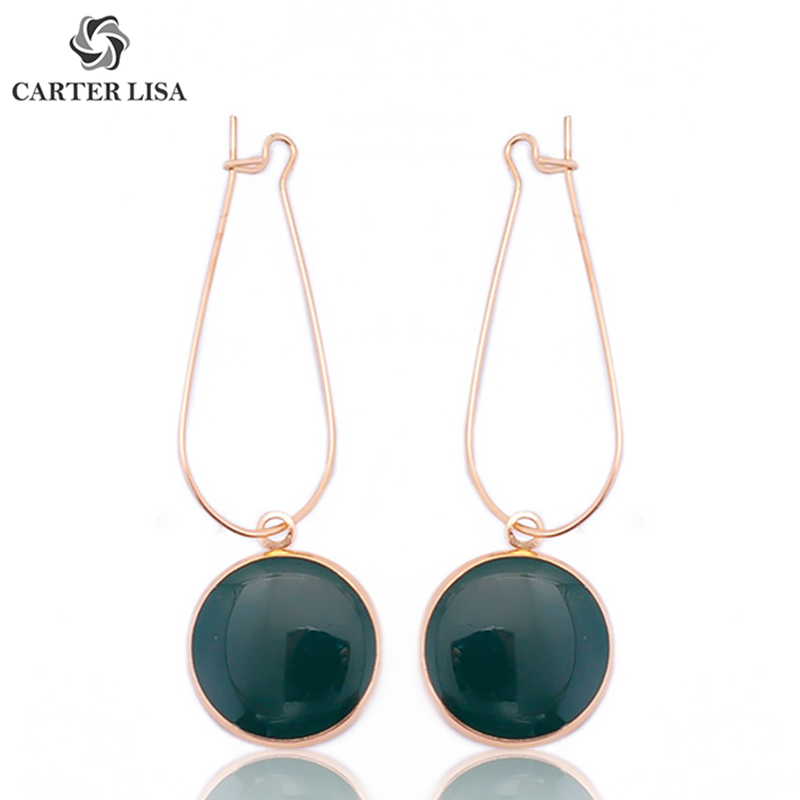 CARTER LISA Dark Green Round Pendant Statement Drop Earrings For Women Girl Fashion Modern Pirecing Jewelry Findings Party Gifts