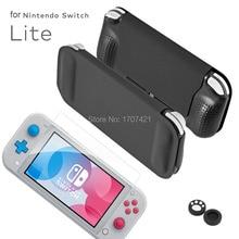 Funda de cuero PU con tapa para Nintendo Switch Lite, funda de rejilla protectora de pantalla de vidrio templado para Mini consola Nintendo Switch 2020