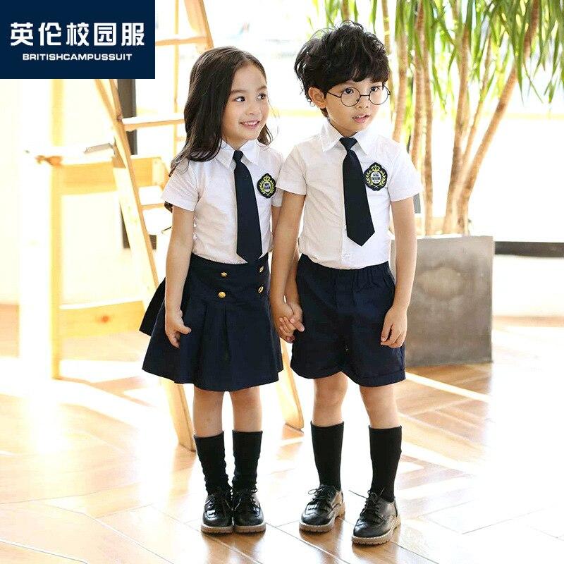 Kindergarten Suit Summer Short-sleeved Set Young STUDENT'S School Uniform England College Style Summer Wear Children Business At