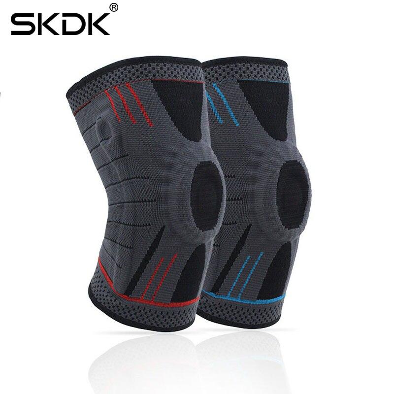 Spor ve Eğlence'ten Dirsek ve Diz Pedleri'de SKDK 1 adet sıkıştırma dizlik destek silikon yay sabitleyici dizlik spor basketbol voleybol Patella diz koruyucusu title=
