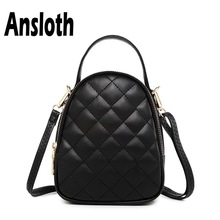 Ansloth Classic Diamond Lattice Mini Bag Simple Shoulder Bags Female PU Leather Bags Women Fashion Handbag Crossbody Bag HPS367 women euro style pu leather shoulder crossbody bag fashion classic chain handbag with detachable belt diamond lattie satchels