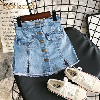 Bear Leader Girl spódnice Baby girl odzież letnia urocza dziecięca jeansowa spódniczka Modis Button spódnica jeansowa Culottes Short Girls tanie i dobre opinie Na co dzień CN (pochodzenie) Pasuje prawda na wymiar weź swój normalny rozmiar COTTON Poliester Stretch Spandex Stałe