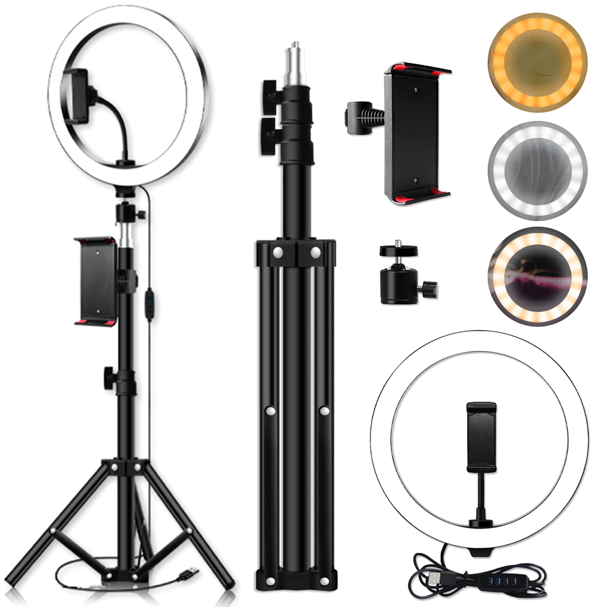 10inch LED Ring Light Dimmable LED Live Video Ring Light Set with Tripod Tablet Clip for