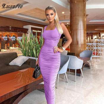 Lusofie Sexy Purple Tight Long Dress Square Collar Sleeveless Vest dress New Summer Open Back Ankle Lenth dress Solid Slim Dress purple lace details open back halter pajama dress with t back