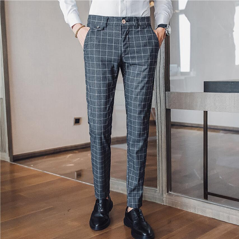 Brand Men's Suit Pants 2019 High-grade Business Casual Pure Color Slim Fit Long Trouser Grid Stripe Office Formal Pants Wedding
