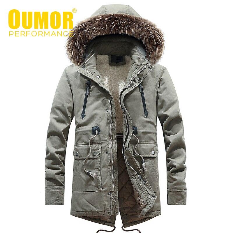 Oumor 2019 Winter Men Casual Long Fur Collar Hooded Fleece Jacket Parkas Men Brand Outfit Fashion Warm Thick Pocket Parkas Men