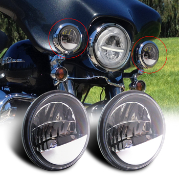 For Harley Motorcycle 2pcs 4.5 inch Led Fog Light DRL Led Fog Halo Ring 30W Round Waterproof 4 1/2 Auxiliary Passing Lamp