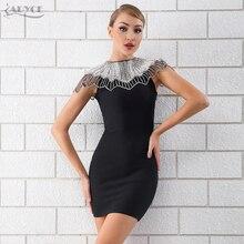 Adyce yeni yaz siyah bandaj elbise 2020 kadın ünlü akşam parti elbise Vestido seksi boncuk elmas Mini pist kulübü elbise
