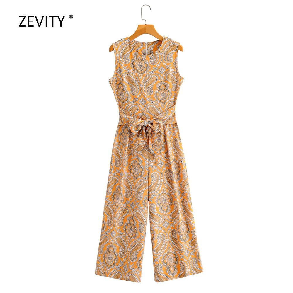 2020 New Women Vintage Cashew Nuts Print Bow Tie Sashes Casual Jumpsuits Lady O Neck Conjoined Wide Leg  Pants Chic Siamese P812
