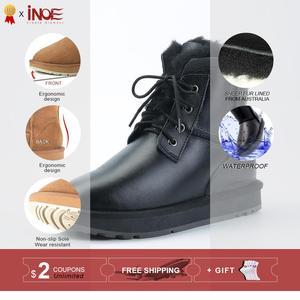 Image 2 - INOE Sheepskin Leather Shearling Wool Fur Lined Women Ankle Winter Boots for Women Snow Boots Casual Warm Waterproof Black