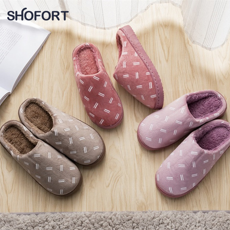 SHOFORT Warm Slippers At Home Simple Style Soft Cotton Women's Shoes Indoor Soft Anti-slip Bottom Winter House Slippers