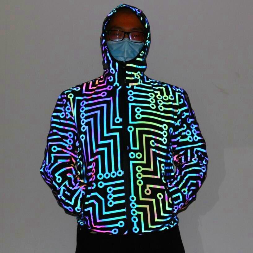 2020 Men's  Circuit Geometric Pattern Rainbow-Colored Reflective Jacket Adolescent Hip-Hop Robot Colorful Reflective Jacket