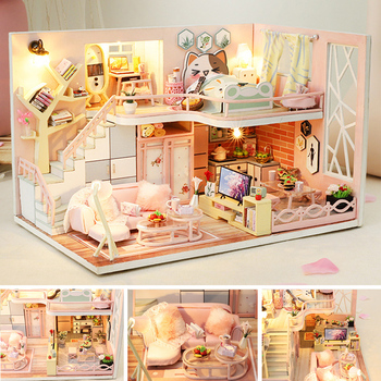 DIY Doll House Furniture Miniature Dollhouse Kit Toys For Children Handmade Model Building Christmas Gift Wooden House Roombox sylvanian families house diy dollhouse blue times handmade house wooden toys dolls house furniture kids toys juguetes brinquedos