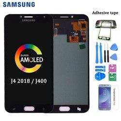 Oryginalny AMOLED do Samsung Galaxy J4 2018 J400 J400F J400H J400G J400P J400M wyświetlacz LCD montaż digitizera ekranu dotykowego w Ekrany LCD do tel. komórkowych od Telefony komórkowe i telekomunikacja na