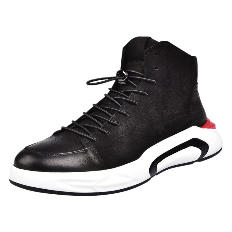 Men Black Casual Shoes Lace Up Round Toe Genuine Leather Male Footwear Students Breathable Zapatos 2020 New Brand High Top Shoes