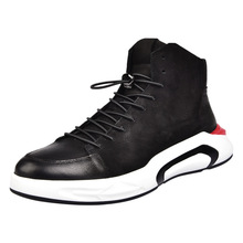 Men Black Casual Shoes Lace Up Round Toe Genuine Leather Male Footwear Students