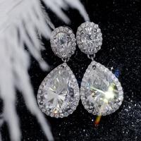 Starszuan Jewel 14K DEF Moissanite Earring 4*6mm Oval Cut 8*11mm Pear Cut Moissanite 1mm D HTHP Lab Grown Diamond Fashion Jewel