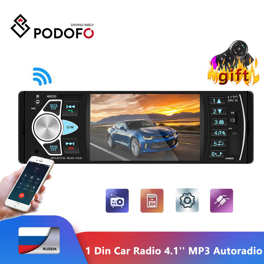 Podofo 1din rádio do carro 4.1 'display display digital bluetooth fm mp3 autoradio multimídia player 1din áudio rádio usb fm monitor de backup