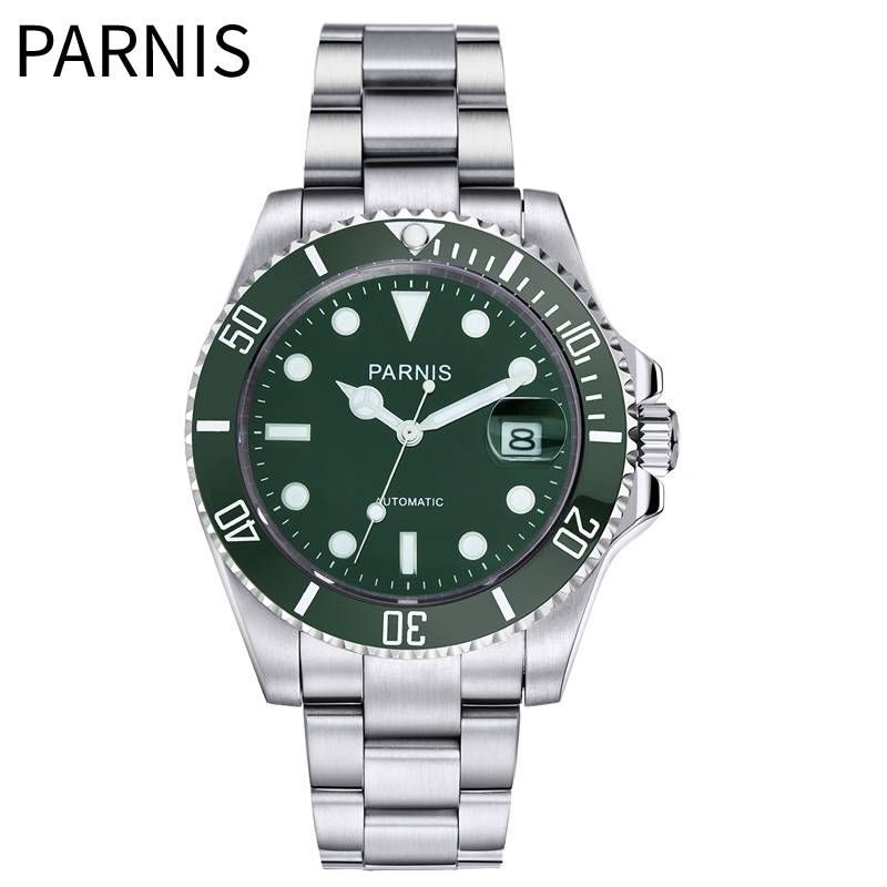 <font><b>Parnis</b></font> <font><b>40mm</b></font> <font><b>Watch</b></font> Mens Automatic Mechanical <font><b>Watches</b></font> Ceramic 10bar Waterproof stainless steel case Luminous Miyota Movement image