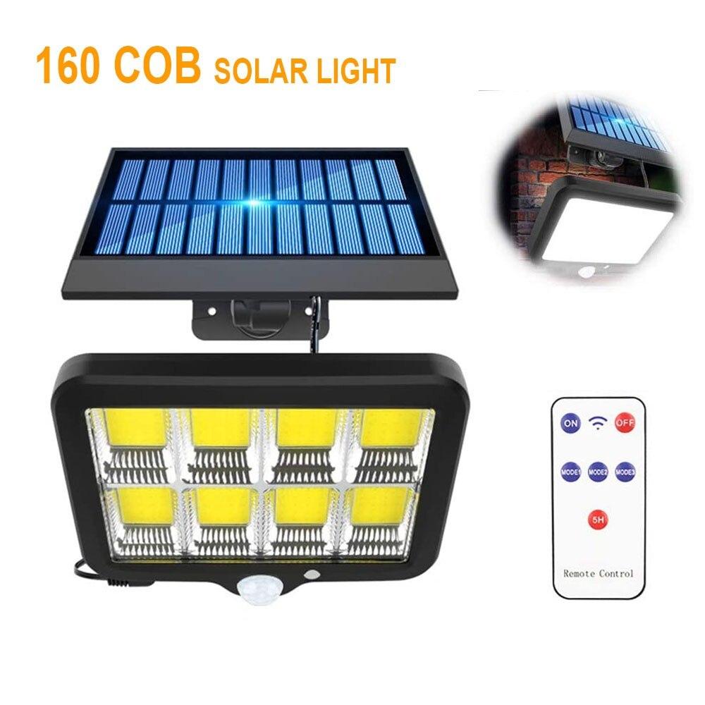 128 150 160 COB Солнечная настенная лампа разделенного типа с дистанционным управлением и пассивным ИК датчиком движения, водонепроницаемая авар...