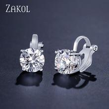 ZAKOL Top Quality Cubic Zirconia Round Clip Earrings for Women Fashion CZ Crystal Female Wedding Party Gift Jewelry FSEP526