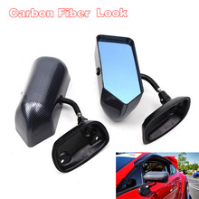 2pcs F1 Style Car Side Rearview Mirror Racing Drift Carbon Fiber Colo Blue Metal Bracket