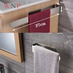 Não-perfurador toalheiro de aço inoxidável escovado prateleira do banheiro simples banheiro toalheiro 3m cola fixação