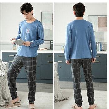 New Autumn Winter Cotton Pyjama Men Pajama Set Fashion Plaid Sleepwear Suit With Pocket Casual Comfortable Sports Warm Outwear 2