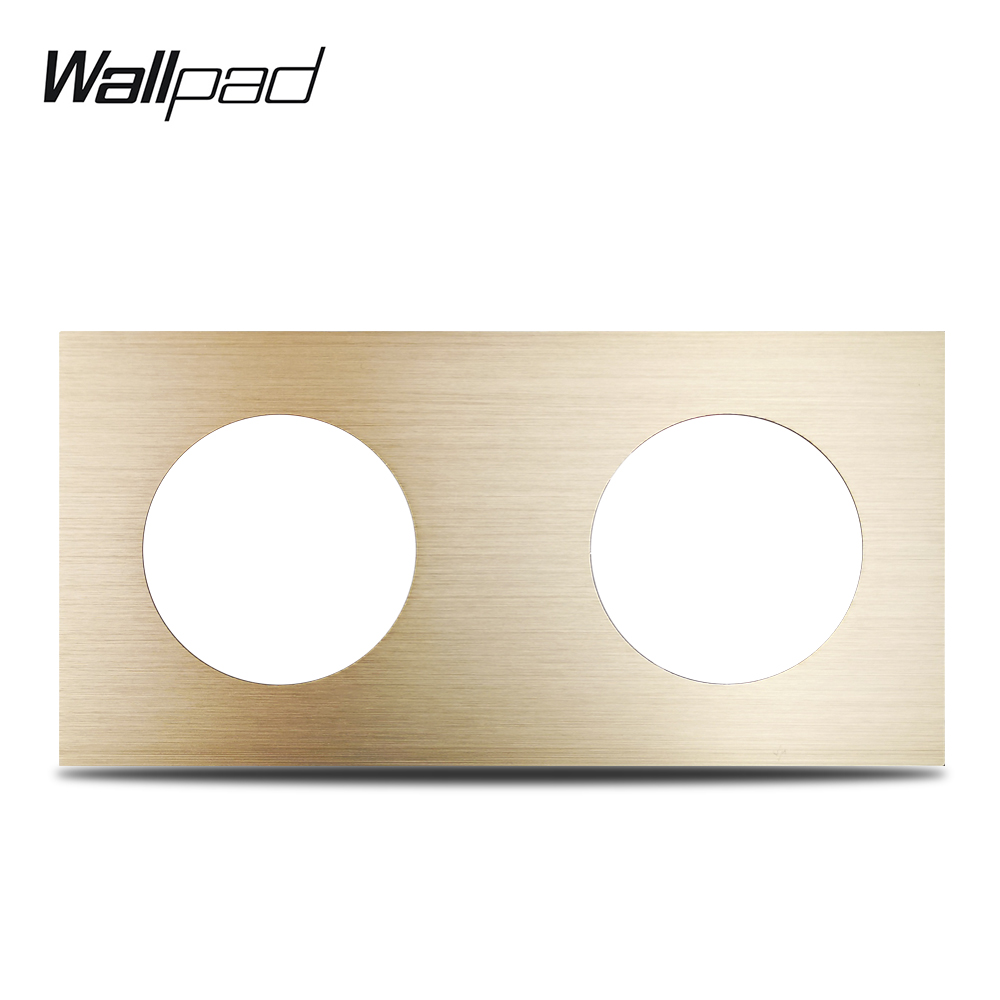 L6 DIY Double Panel Gold Brushed Aluminum For Wall Switch Socket UK EU Universal Metal Plate Free Combination, 172*86mm