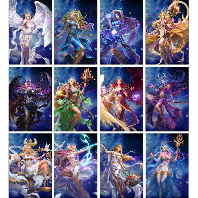 妖精干支ダイヤモンド塗装12星座5D diyダイヤモンド刺繍女性ガール誕生日ギフト手作りの家の装飾