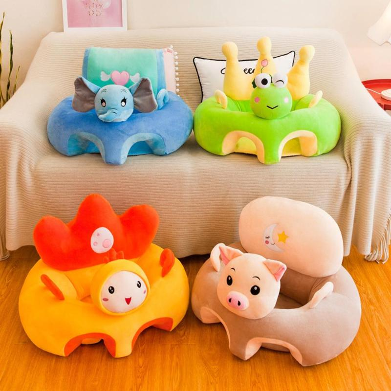 Cartoon Baby Seat Crystal Velvet Washable Toddler Anti-fall Support Learning Sofa Soft Portable Nest Baby Furniture