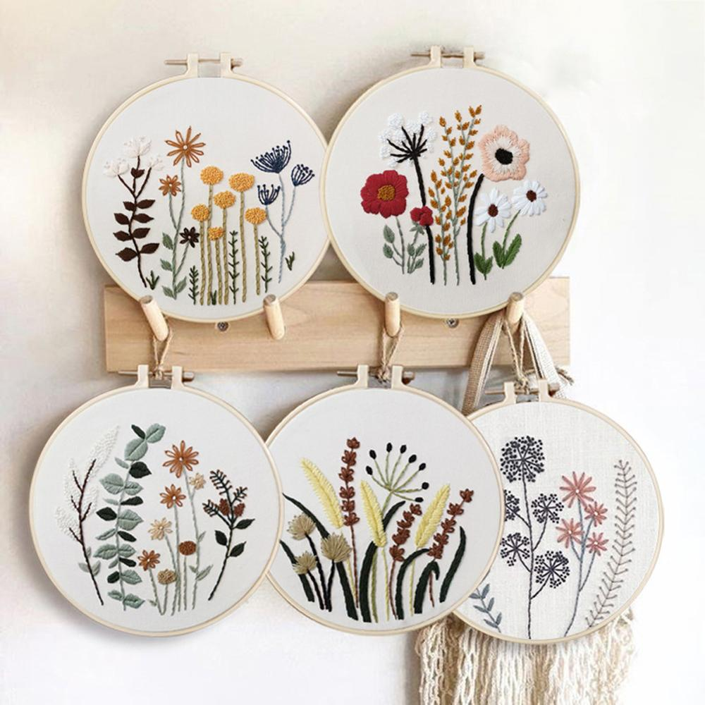 Embroidery DIY Beginner Material Pack Flowers Patterns Cross Stitch Kits Handmade Cross Stitch Series Arts Crafts Sewing Decor