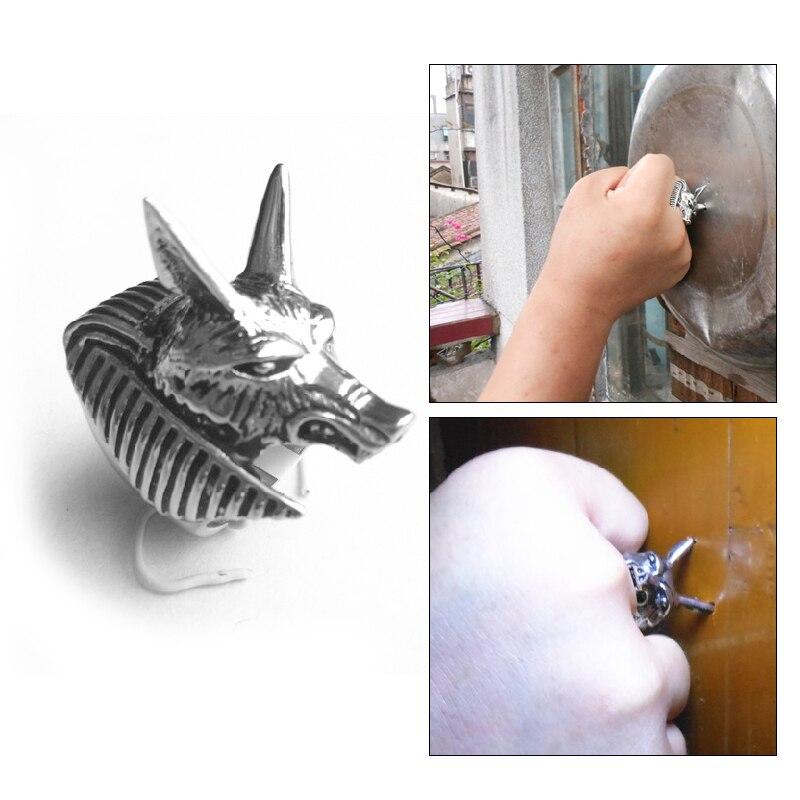 Unisex Titanium Steel Self Defense Vintage Wolf Ring Personal Safety Anti-Wolf Head Spike Punk Anti-wolf Finger Ring