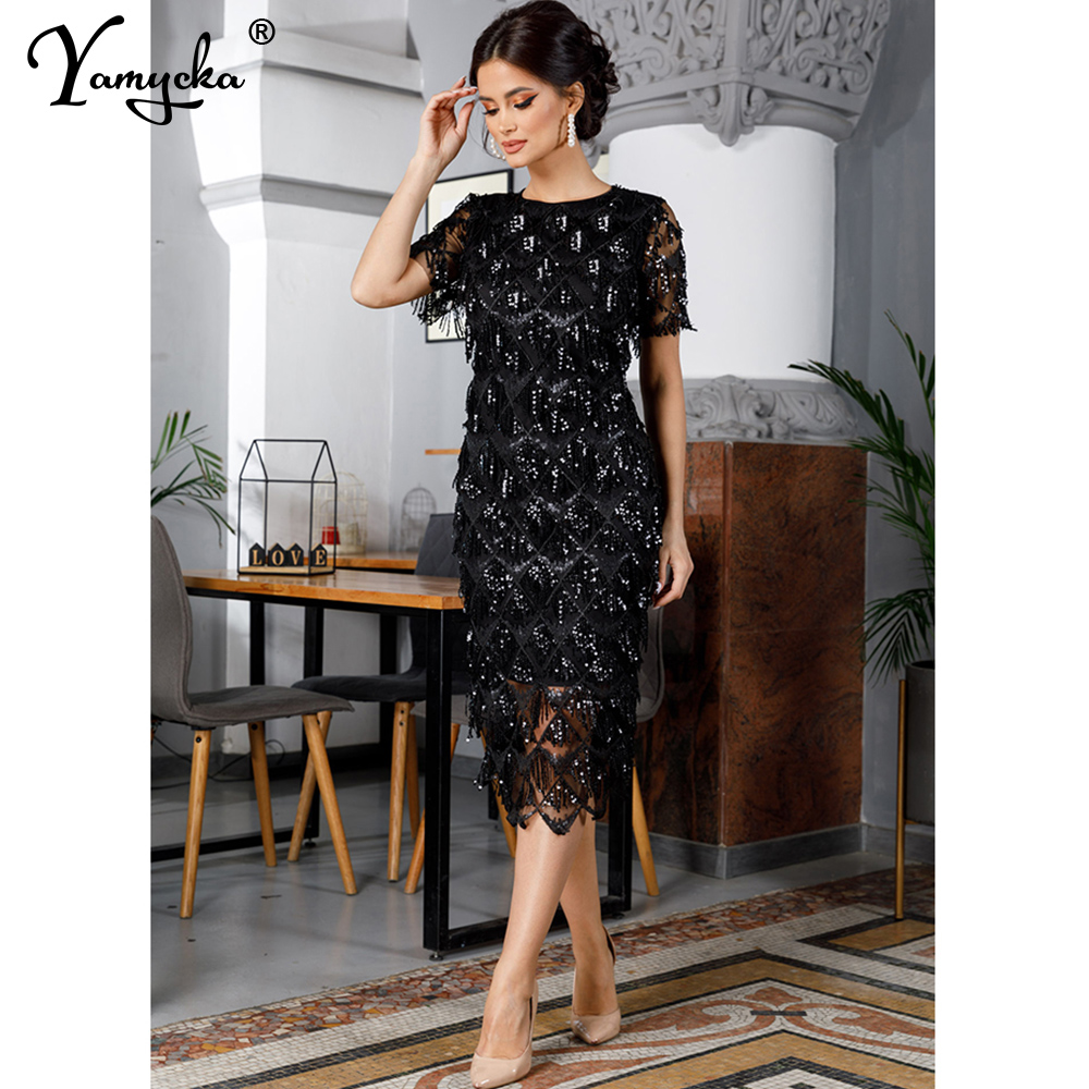 Sexy Black vintage maxi sequin summer dress women elegant club long party dresses bodycon office woman dress clothes vestidos HL