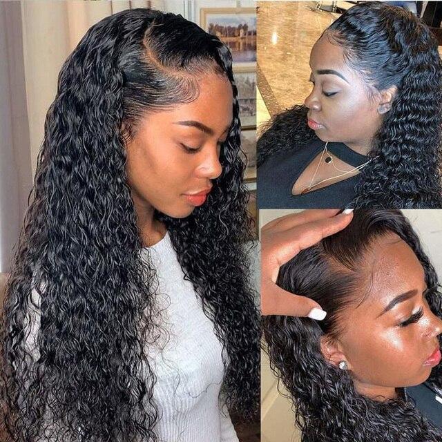 Koronki przodu włosów ludzkich peruk dla czarnych kobiet głęboka fala kręcone hd frontal bob peruka brazylijski afro krótki długi 30 cal wody peruka pełna